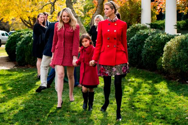 Ivanka Trump (R) holds her daughter Arabella Kushner's hand as she walk with sister Tiffany Trump (L) after viewing the pardoned Thanksgiving turkey Drumstick in the Rose Garden of the White House in Washington, DC, on November 21, 2017. / AFP PHOTO / JIM WATSON (Photo credit should read JIM WATSON/AFP/Getty Images)
