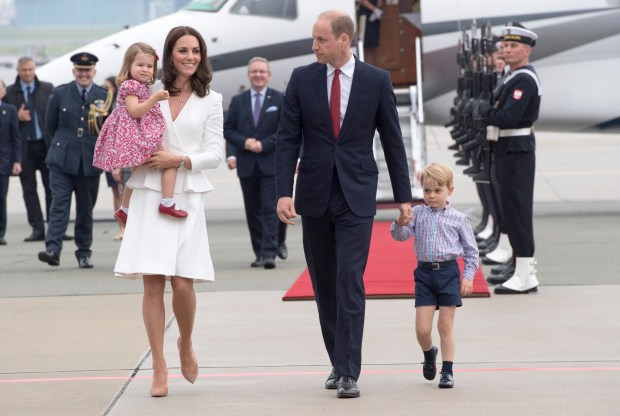 WARSAW, POLAND - JULY 17: Prince William, Duke of Cambridge and Catherine, Duchess of Cambridge with their children Prince George and Princess Charlotte arrive at Warsaw airport to start a 3 day tour on July 17, 2017 in Warsaw, Poland. (Photo by Arthur Edwards / Pool/ Getty Images)