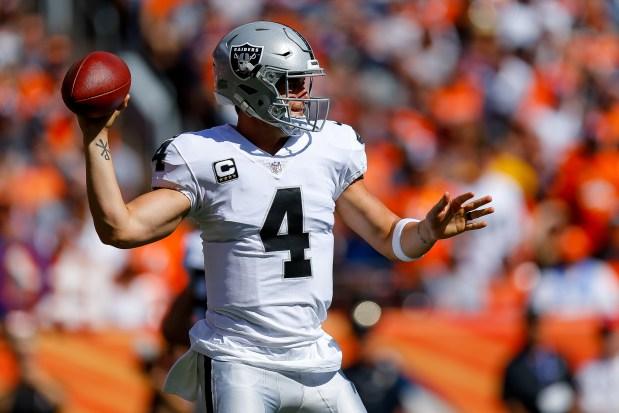 Quarterback Derek Carr #4 of the ...