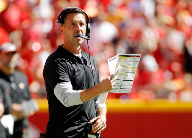 ff4b59501b9 San Francisco 49ers head coach Kyle Shanahan looks at the scoreboard during  the second half of an NFL football game against the Kansas City Chiefs in  Kansas ...