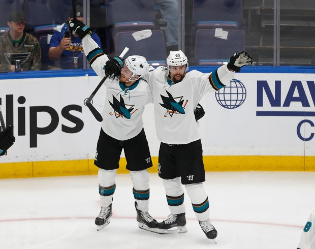 Erik Karlsson celebrates his game winning goal Joakim Ryan in the overtime period. (Nhat V. Meyer/Bay Area News Group)