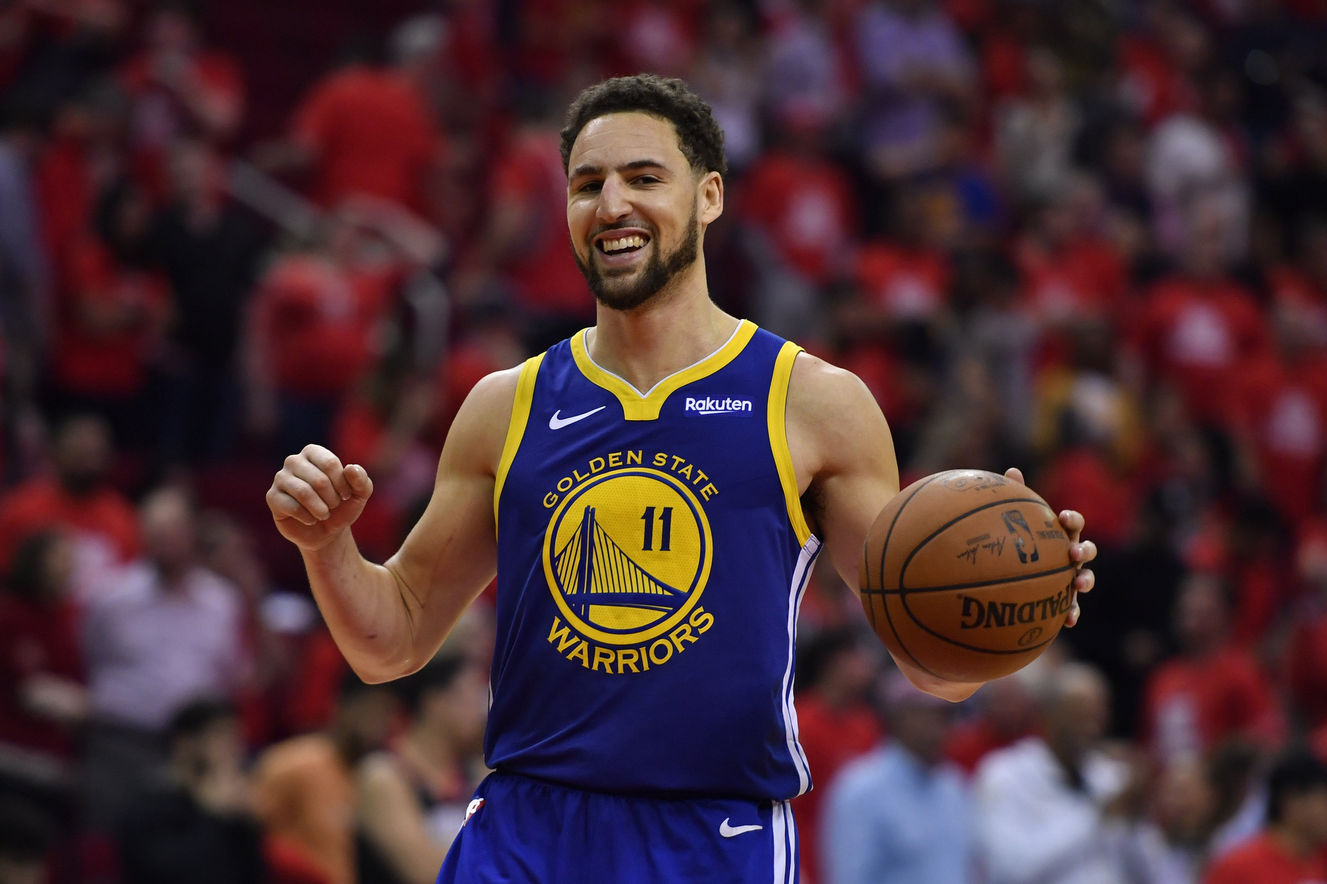 Golden State Warriors Klay Thompson 11 Smiles As He Celebrates During The Final Minute Of The Fourth Quarter Of Game 6 Of Their Nba Second Round Playoff