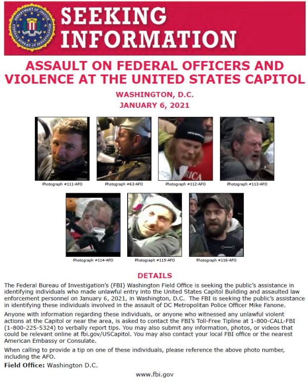 FBI releases photos of 7 suspects in Capitol attack on officer