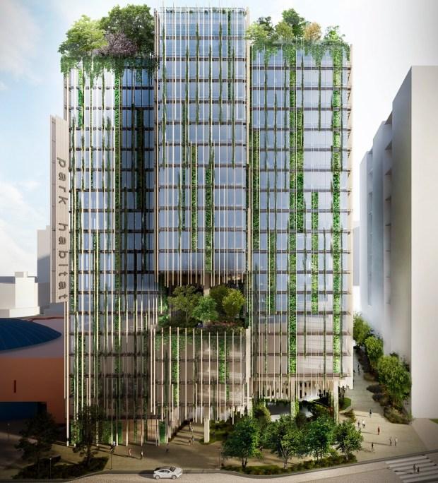 Park Habitat, Blick über die Park Avenue mit The Tech auf der linken Seite, 180 Park Ave., San Jose, Konzept.