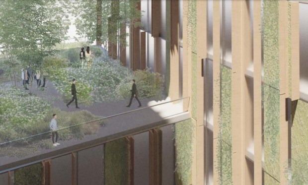 Gemeinschaftsräume und Gehwege mit Gärten im Park Habitat, 180 Park Ave. in der Innenstadt von San Jose, Konzept.