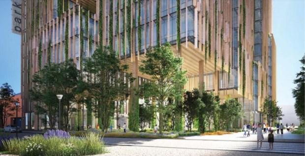 Straßenansicht des Park Habitat, 180 Park Ave., Innenstadt von San Jose, Konzept.