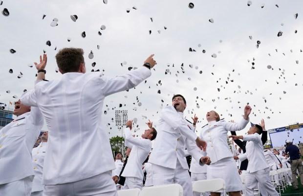 Harris cites 'fragile' world in speech to Navy grads