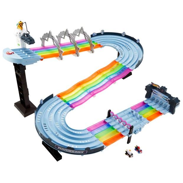 Hot Wheels Mario Kart Rainbow Road Raceway.