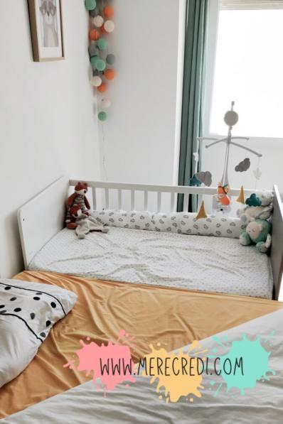 lit side-car pour le cododo réalisé à partir d'un lit bébé à barreaux classique sans bricolage ni outils