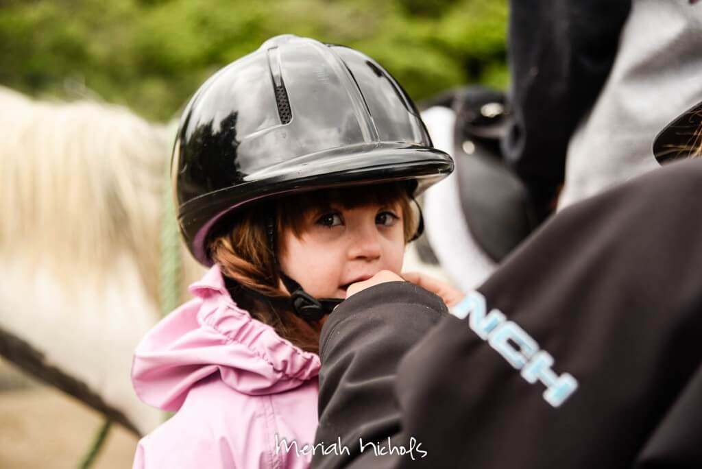 small girl on a horse with a riding helmet on
