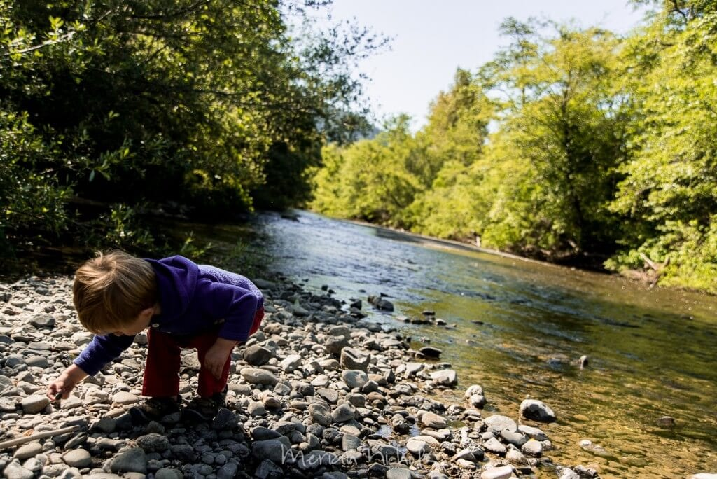 small boy by the river reaching down to pick up a stone