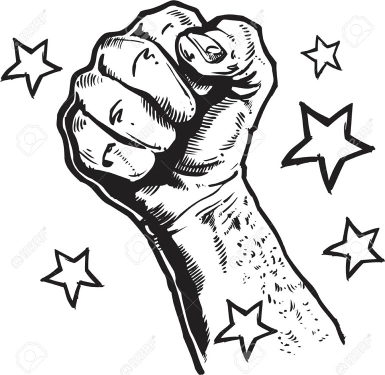image of drawing of fist with stars surrounding it