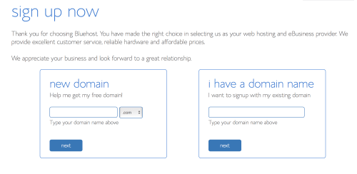 image is a screenshot of blue host's page to choose a domain name