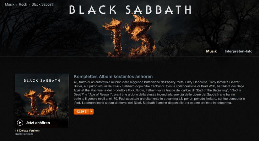 """Black Sabbath """"13"""" kostenlos bei iTunes hören [Update]"""