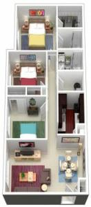 3 Bed / 2 Bath / 1,060 sq ft / Rent From: $825-875