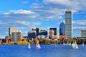 Boston, Massachusetts Skyline at Back Bay district.
