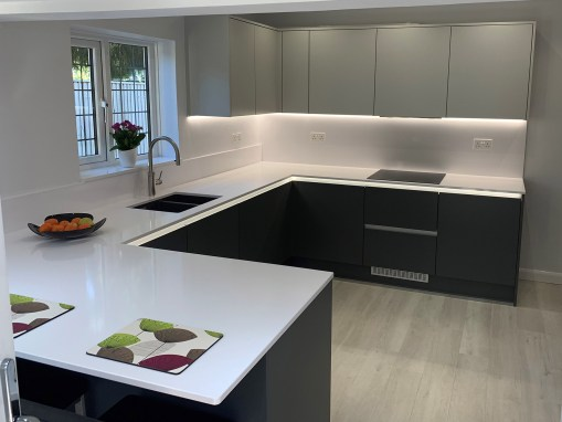 Fitted dream handleless kitchen in Ferndown