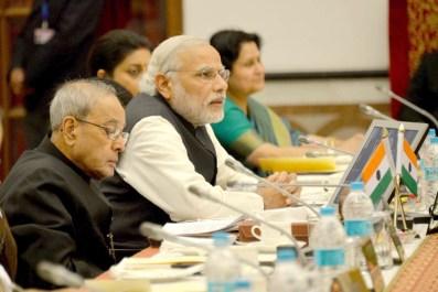 President Pranab Mukherjee & Prime Minister Narendra Modi at Governors' Conference in Rashtrapati Bhawan, New Delhi