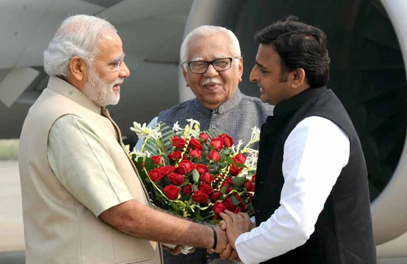 File photo of Prime Minister Modi with UP governor Ram Naik and UP CM Akhilesh Yadav.