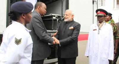 Prime Minister Modi handed over field ambulances to Kenyan President Uhuru Kenyatta.