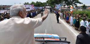 Prime Minister greets people on his 66th birthday in Limkheda, Gujarat.
