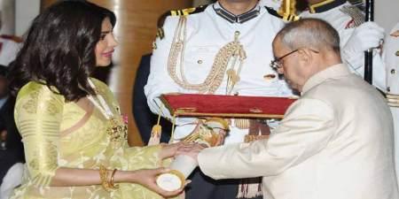 File Photo: President Pranab Mukherjee awarding film actress Priyana Chopra with Padma Shri award. April 12, 2016, New Delhi.