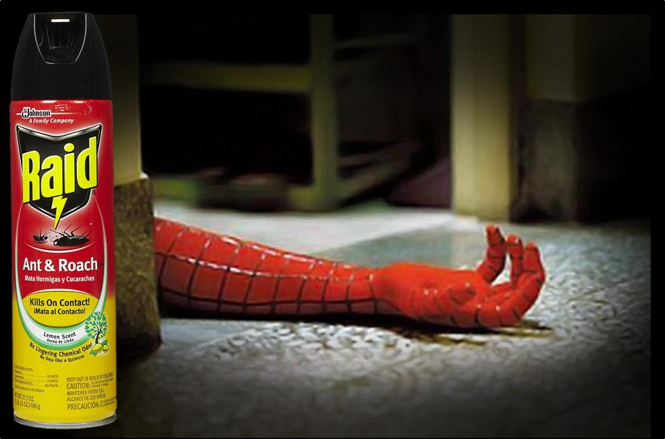 Raid Kills spiderman advertentie