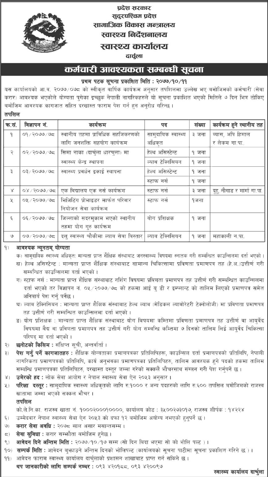 Health Office Darchula, Job Opportunity