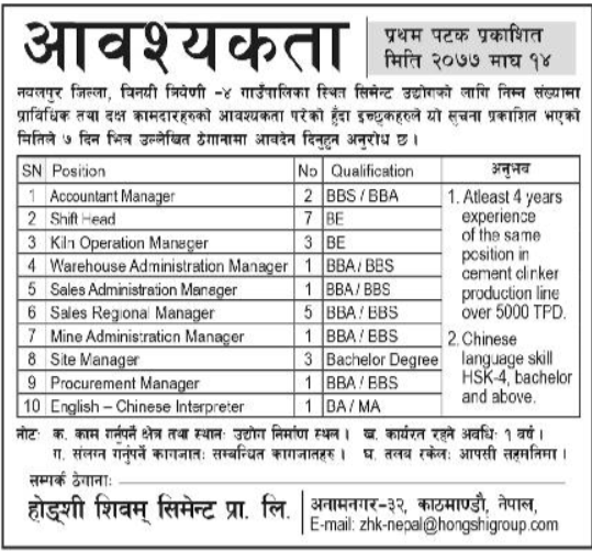 Hongshi Shivam Cement Private Limited, Job Opportunity