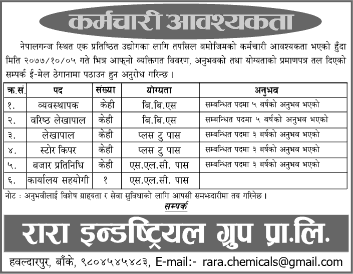 Rara Industrial Group Private Limited, Job Opportunity