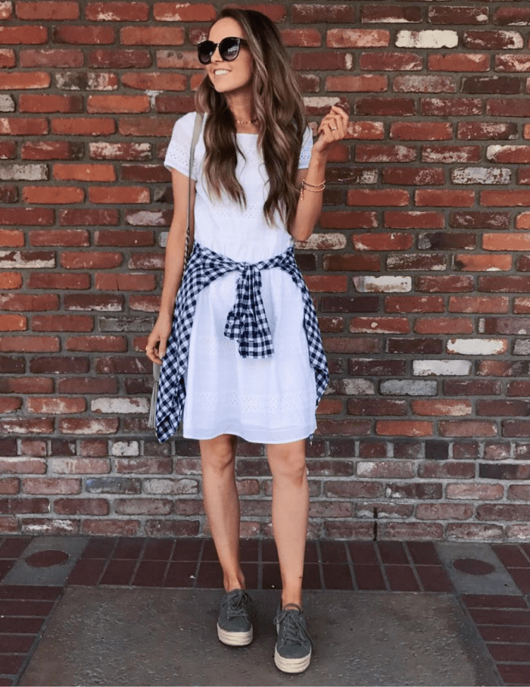 white eyelet dress and sneakers