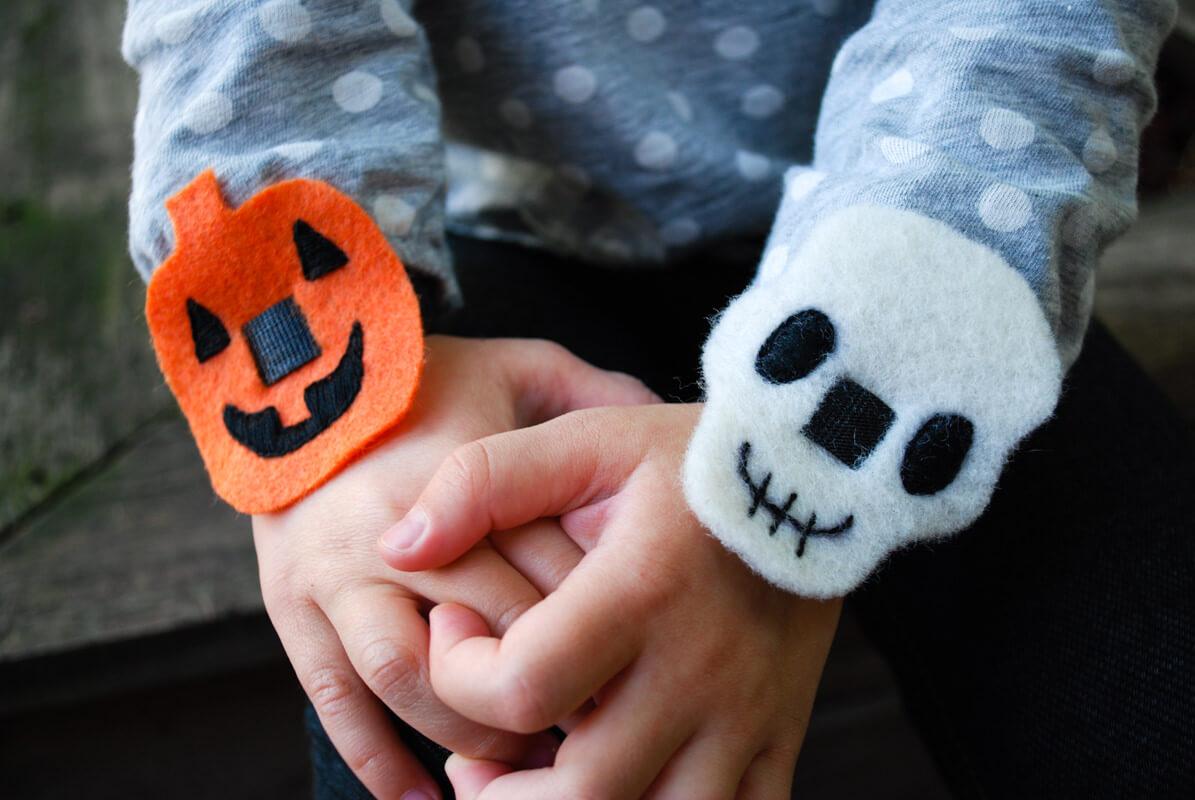 Easy Halloween No Sew Bracelets Pumpkins And Skulls