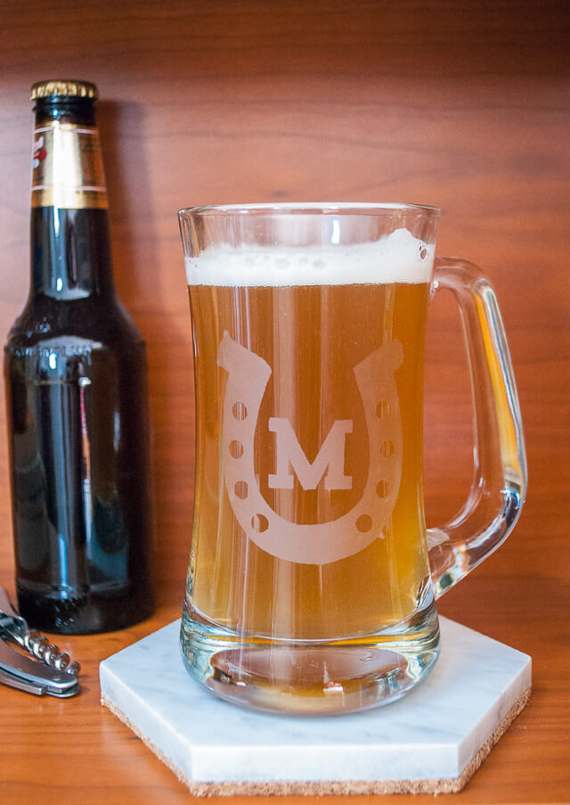 How To Etch A Monogrammed Horseshoe Beer Glass For The