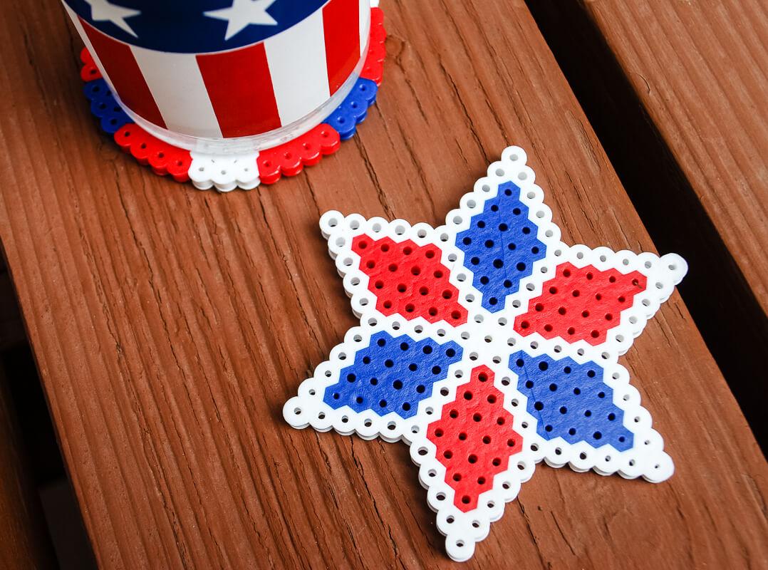 Fourth Of July Kids Crafts Perler Bead DIY Coasters