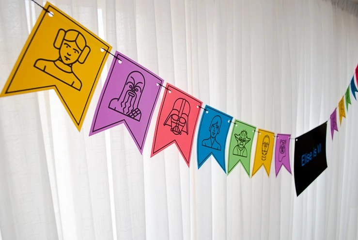 Star Wars Party Decorations Printable Birthday Banner In Lightsaber Colors Merriment Design