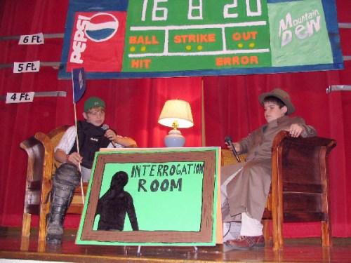 A photo from Eva Nadeau's school Out Of The Game party of the Interrogation Room