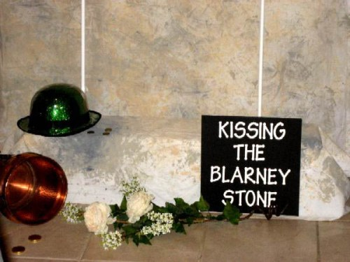 A photo of France's Kissing The Blarney Stone decorations for her The Luck Of The Irish party