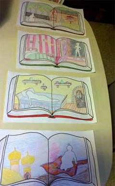 A photo of the hand-drawn storybooks from Tara's Mystery In The Libary Party