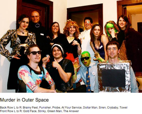 A group photo from Angelas Murder In Outer Space party