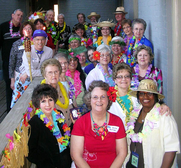 A group photo from Marte's Hawaiian Lunacy party