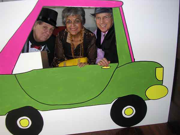 A photo of some people in the clown car