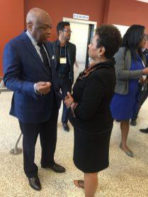 Barbara Lee speaks to her friend Willie Brown, former SF mayor.