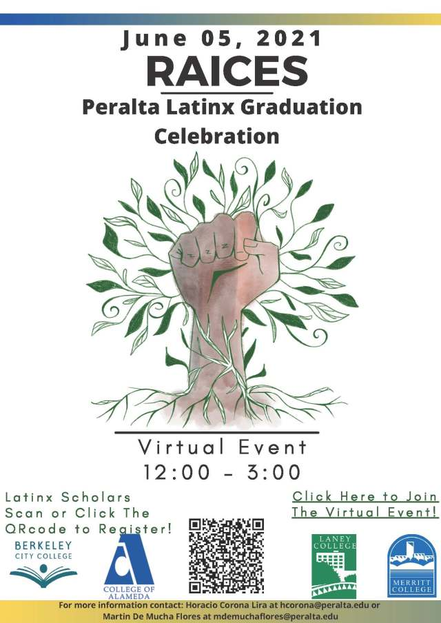 Peralta Latinx Graduation Celebration June 05 , 2021 Click here for zoom