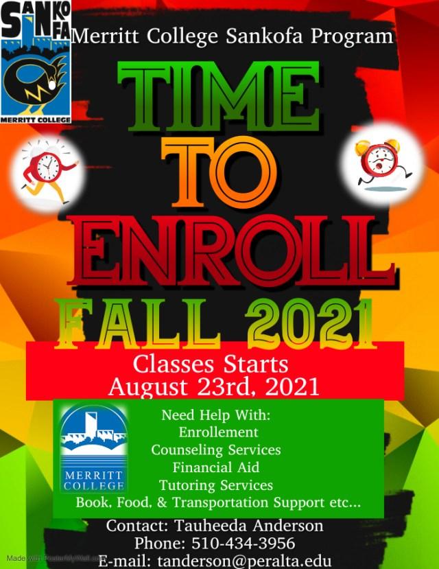 Merritt College Sankofa Program Classes start Aug 23