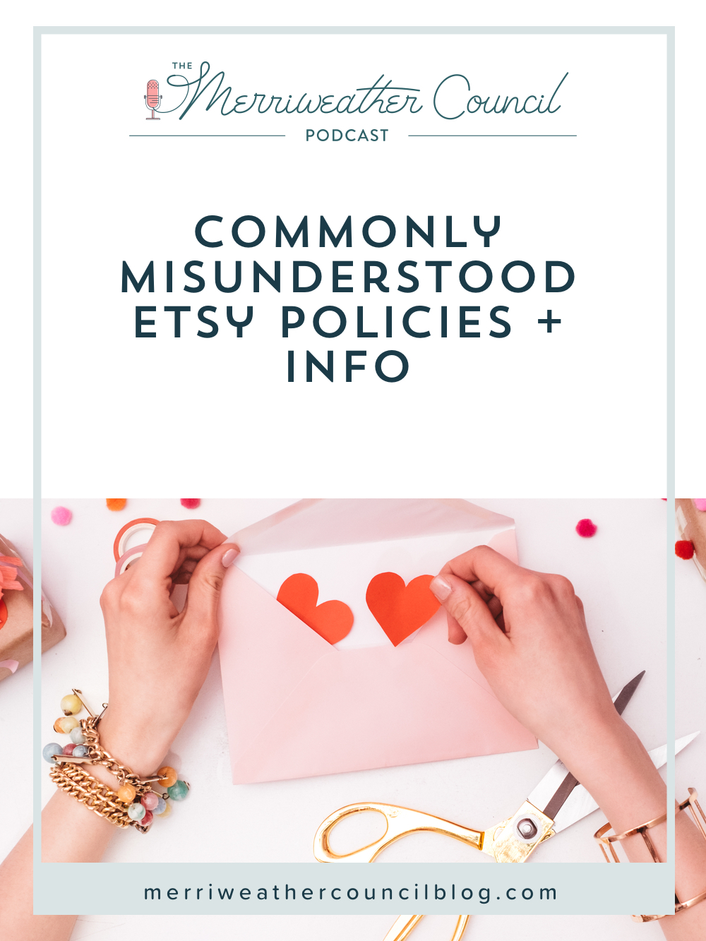 In this episode of The Merriweather Council Podcast, I will be reviewing the actual rules Etsy has laid out related to these misunderstood Etsy policies: conversation policy, linking policy, and fees. Listen for all the details on these and to get the real facts once and for all. | The Merriweather Council