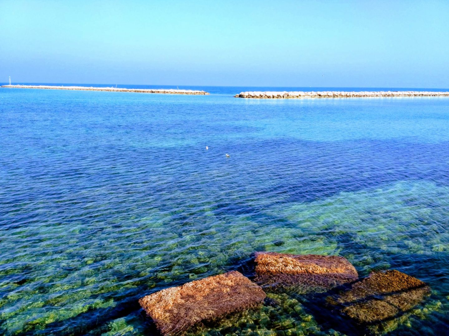 blue water at the beach in Bari, Italy