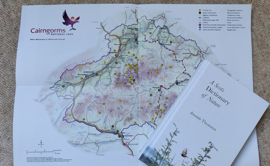 Map of Cairngorms National Park with book 'A Scots Dictionary of Nature'