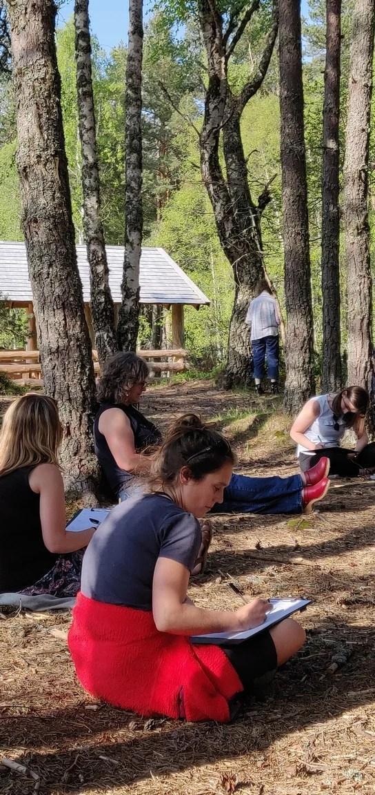 Creative writing workshop in Abernethy woods
