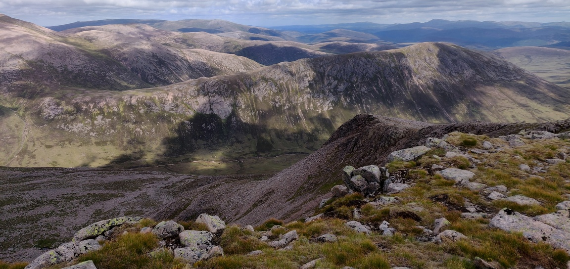 Panorama of Cairngorm mountains