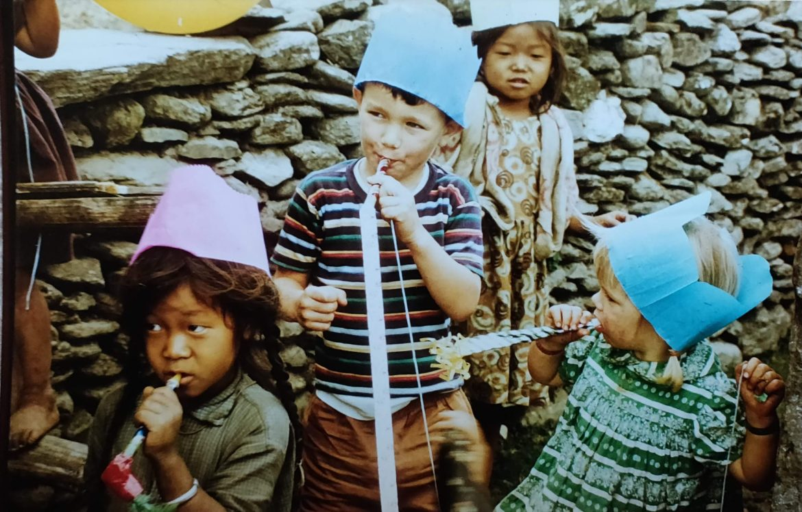 Children having a party in a Nepali village